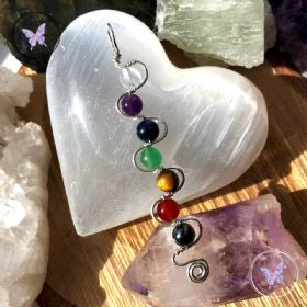 Silver Wire Wrapped Chakra Healing Pendant